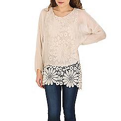 Amaya - Beige beige lace overlay tunic