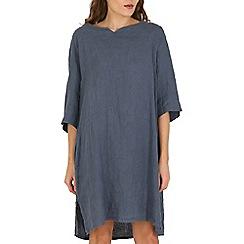Amaya - Light blue denim linen tunic with pockets