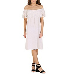 Amaya - White linen dress with lace