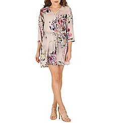 Blue Vanilla - Beige v zip neck floral dress