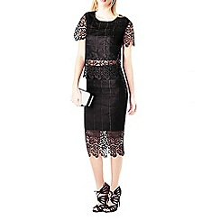 Zibi London - Black grid lace pencil skirt