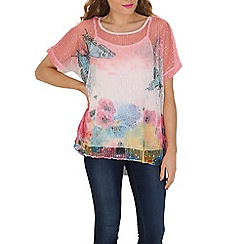 Izabel London - Multicoloured floral layered knit top