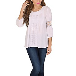 Izabel London - White decorative crochet detail top