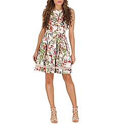 Izabel London - Multicoloured boat neck leaf and flower print dress