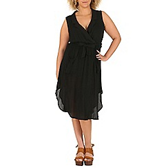 Samya - Black v neck wrap gathered dress