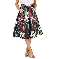 Jolie Moi - Black 3d floral print skirt