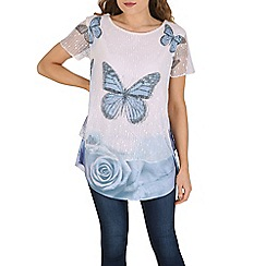 Izabel London - Blue butterfly contrast hem top