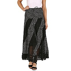Izabel London - Black floral lace trim maxi skirt