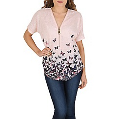 Izabel London - Pink oversized butterfly print zip top