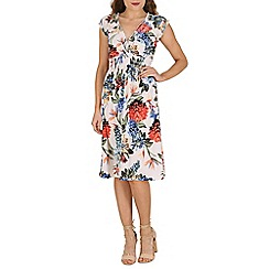 Izabel London - White bold flower printed dress
