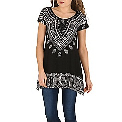 Izabel London - Black aztec print top