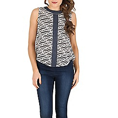 Izabel London - Blue contrast denim band printed top