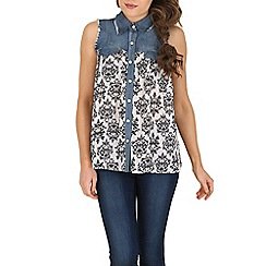 Izabel London - Multicoloured baroque contrast denim top