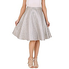Oeuvre - Brown metallic polka dot a line midi skirt