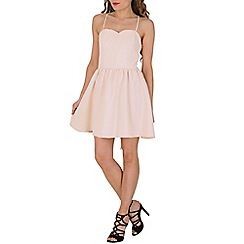 Oeuvre - Beige sweetheart lace up back skater dress