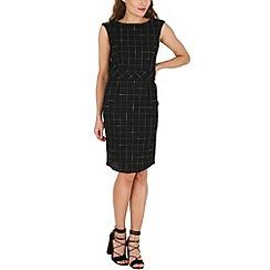 Amaya - Navy linen cheack print shift dress