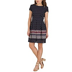 Amaya - Navy border print dress
