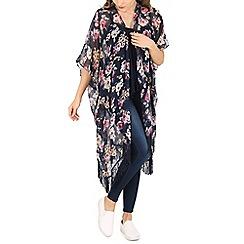 Voulez Vous - Navy floral tassel hem kimono