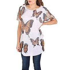 Izabel London - Brown butterfly print net top