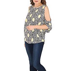 Izabel London - Yellow cut out shoulder pattern top