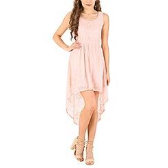 Mela - Pink lace high low dress