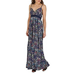 Mela - Navy paisley print maxi dress
