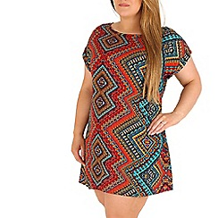 Samya - Red aztec tunic dress