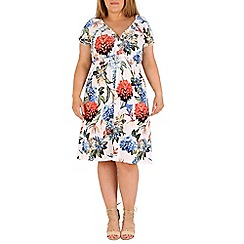 Samya - White flower printed tea dress