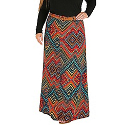 Samya - Orange aztec print maxi skirt
