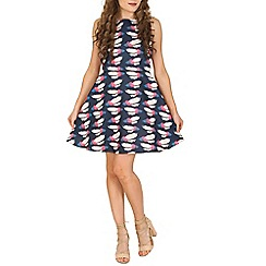 Cutie - Navy feather print dress
