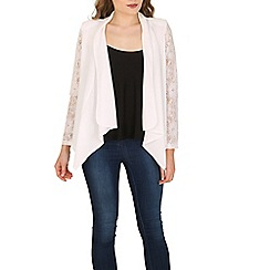 Cutie - White lace sleeves waterfall blazer