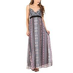 Mela - Black aztec print maxi dress