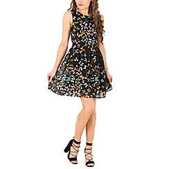 Mela - Black butterfly skater dress