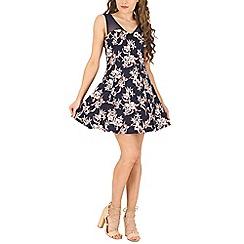 Voulez Vous - Navy mesh low cut floral dress