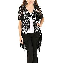 Voulez Vous - Black rozette crochect fringe kimono