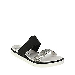 Betsy - Black crocodile effect sandals