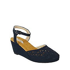 Betsy - Navy laser cut low wedge