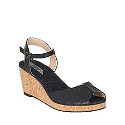 Betsy - Blue low cork wedges