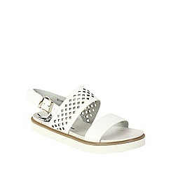 Betsy - White lattice design flatform sandal