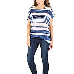 Voulez Vous - Navy tie dye striped oversized tee