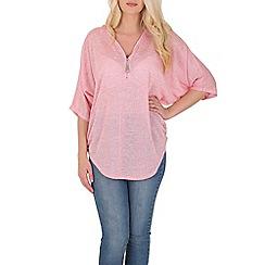 Blue Vanilla - Pink zip neck studded oversized top