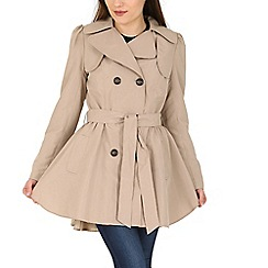 David Barry - Camel ruched slim fit trench coat