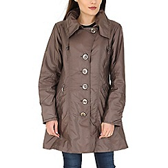 David Barry - Beige drawstring collar raincoat