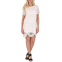 Blue Vanilla - White crochet panel short sleeve dress