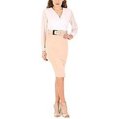 AX Paris - Cream 2 in 1 belted dress
