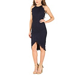 AX Paris - Navy high neck raw edge lace dress
