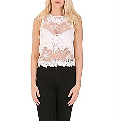 Blue Vanilla - White cropped embroidered top