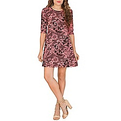 Indulgence - Pink floral printed skater dress