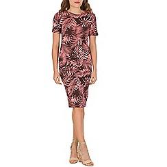 Indulgence - Pink leaf print midi dress