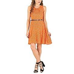 Izabel London - Orange floral fit & flare dress